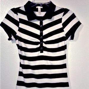 Women's Ambiance Apparel Black/Grey Striped Top